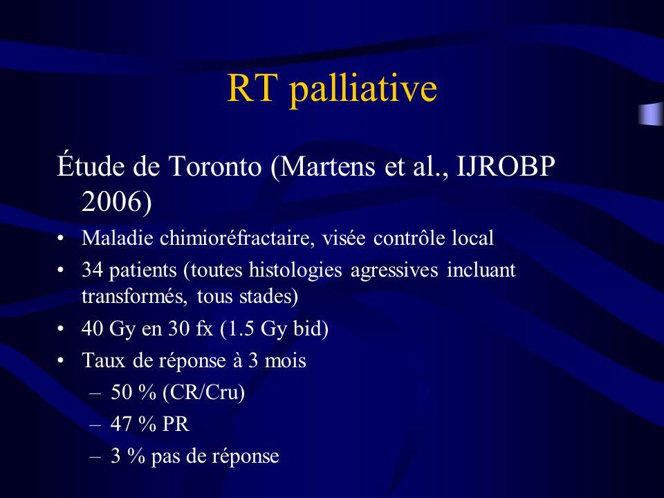 RT palliative Étude de Toronto (Martens et al., IJROBP 2006)