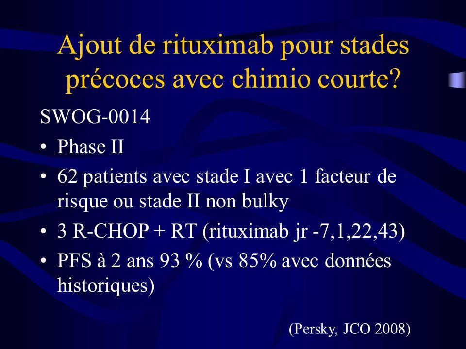 Ajout de rituximab pour stades précoces avec chimio courte