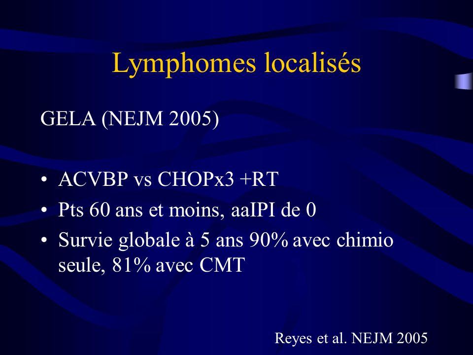 Lymphomes localisés GELA (NEJM 2005) ACVBP vs CHOPx3 +RT
