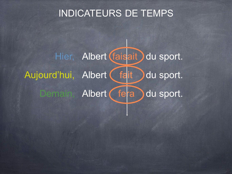INDICATEURS DE TEMPS Hier, Albert. faisait. du sport. Aujourd'hui, Albert. fait. fait. du sport.