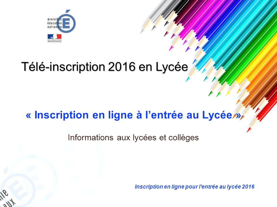 Télé-inscription 2016 en Lycée