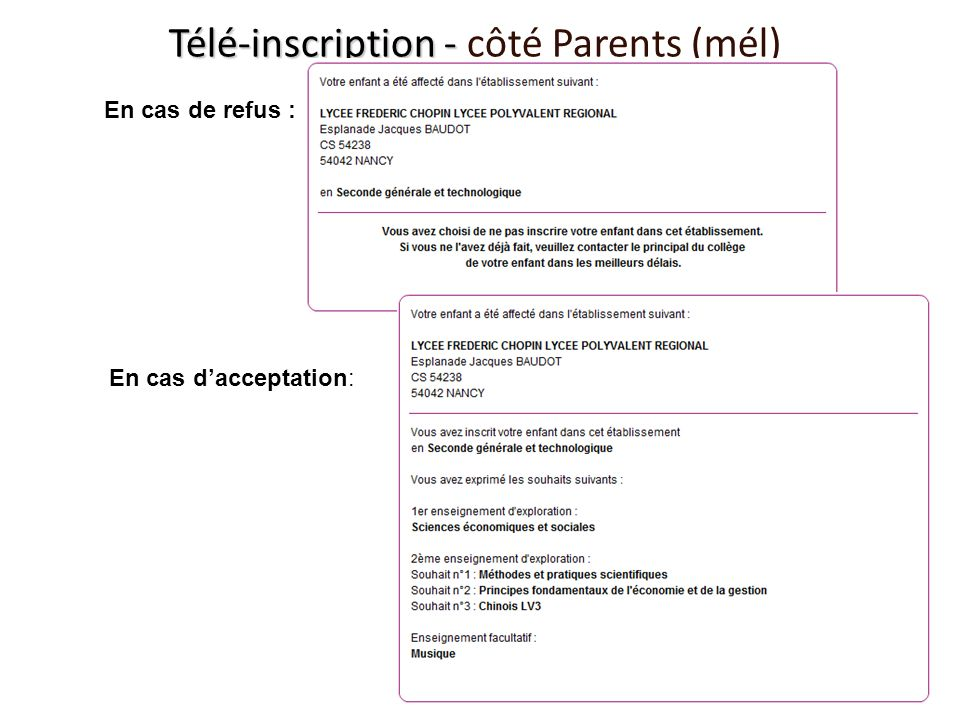 Télé-inscription - côté Parents (mél)