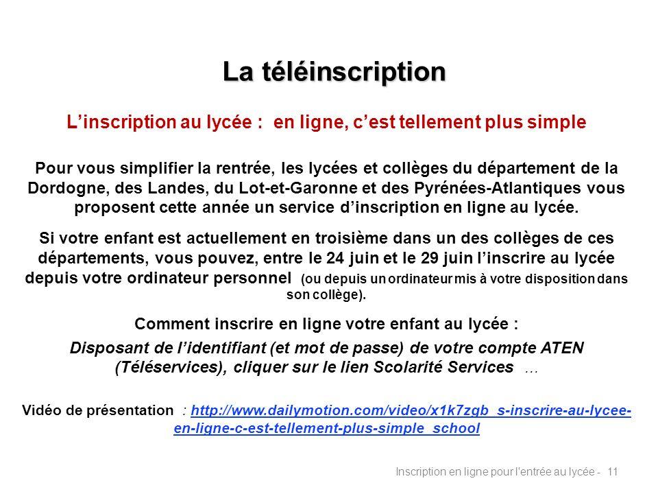 La téléinscription L'inscription au lycée : en ligne, c'est tellement plus simple.