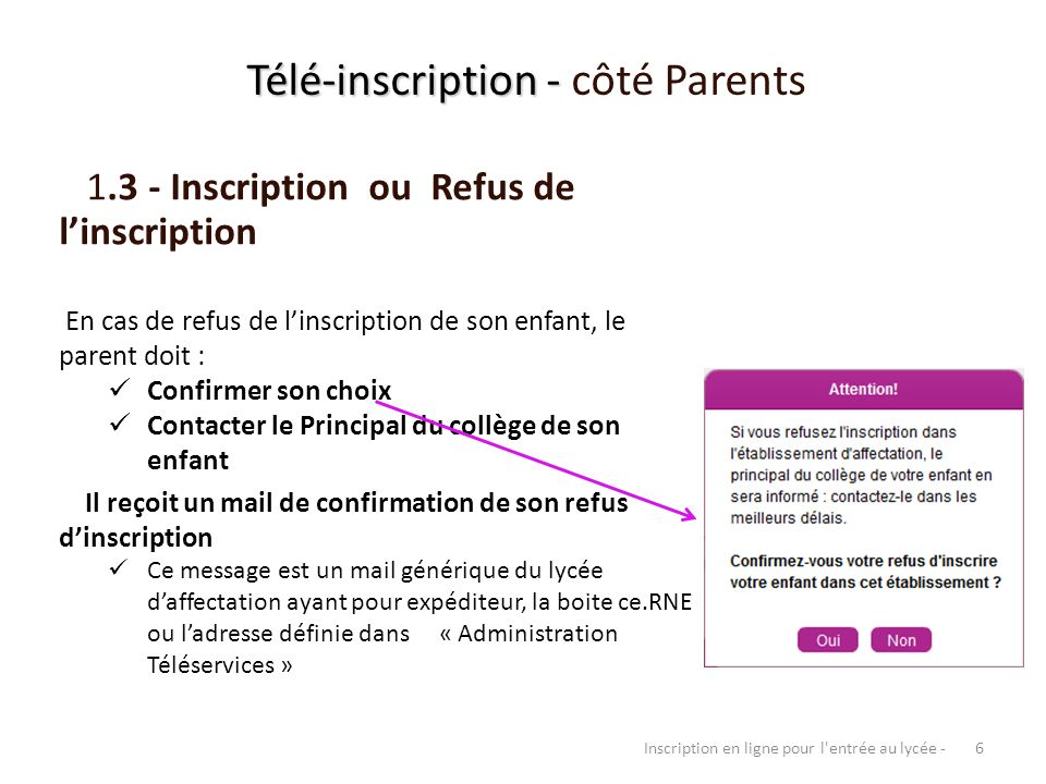Télé-inscription - côté Parents
