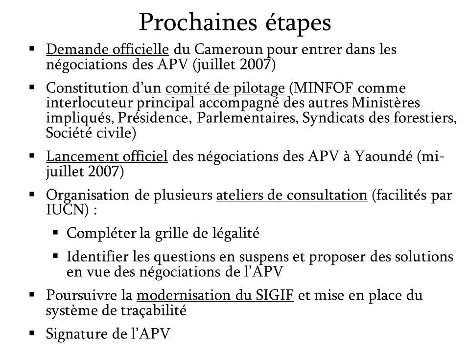 Prochaines étapes Demande officielle du Cameroun pour entrer dans les négociations des APV (juillet 2007)