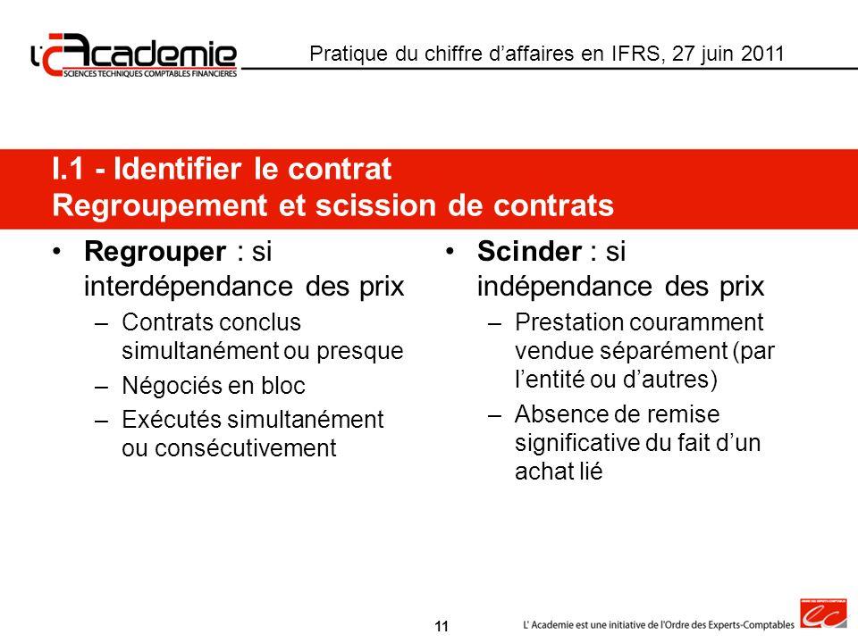 I.1 - Identifier le contrat Regroupement et scission de contrats