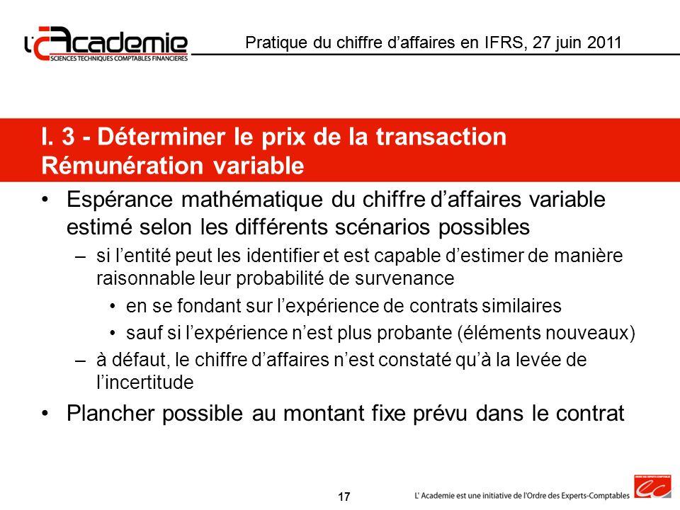 I. 3 - Déterminer le prix de la transaction Rémunération variable