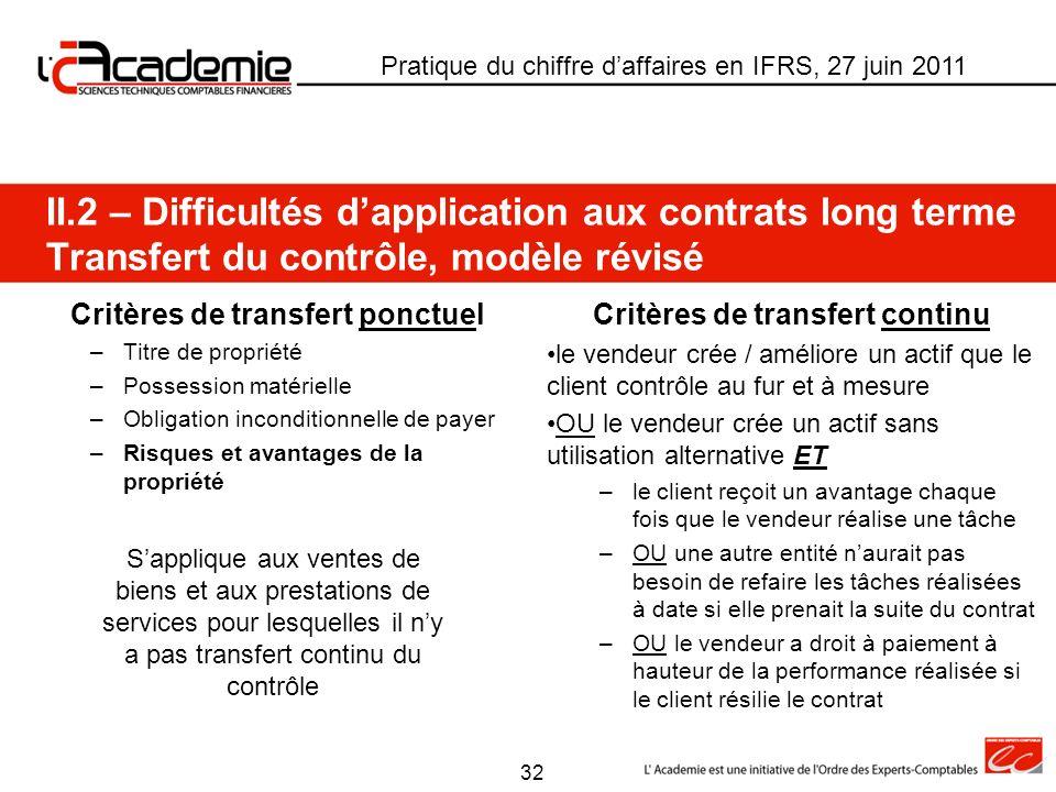Critères de transfert ponctuel Critères de transfert continu