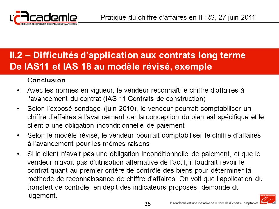 II.2 – Difficultés d'application aux contrats long terme