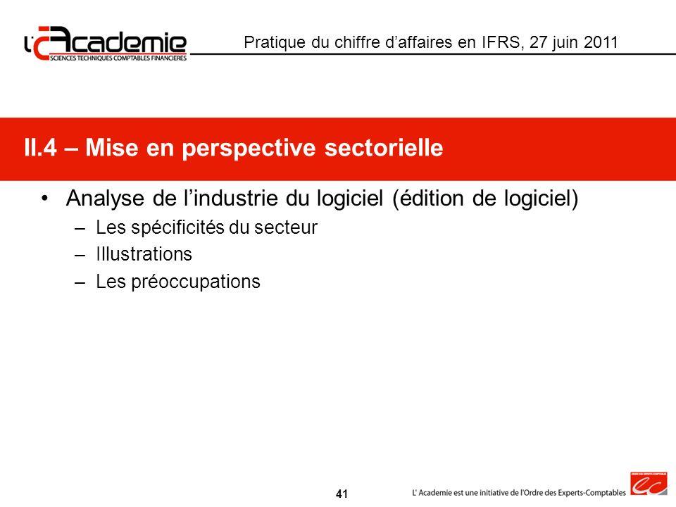II.4 – Mise en perspective sectorielle