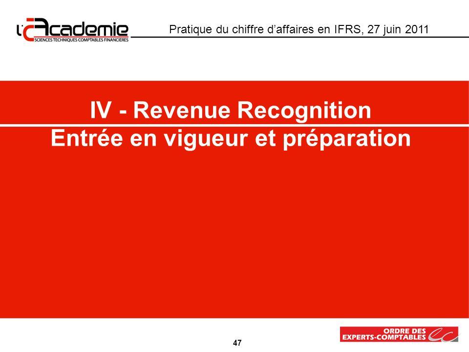 IV - Revenue Recognition Entrée en vigueur et préparation