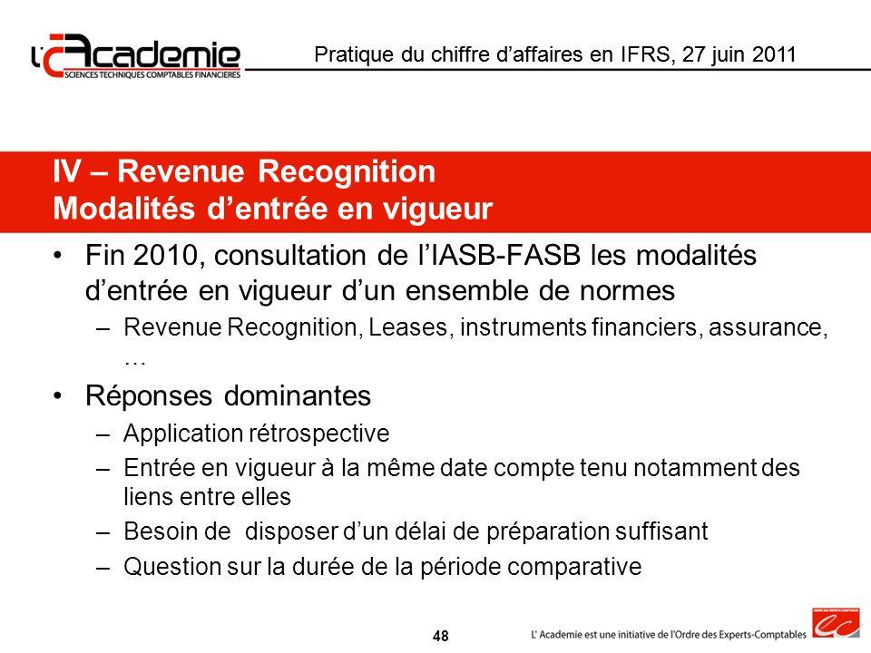 IV – Revenue Recognition Modalités d'entrée en vigueur