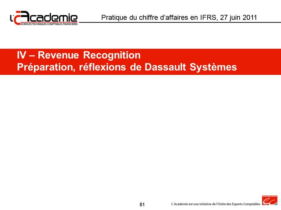 IV – Revenue Recognition Préparation, réflexions de Dassault Systèmes