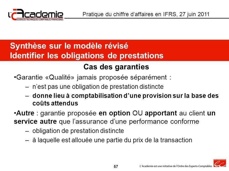 Synthèse sur le modèle révisé Identifier les obligations de prestations