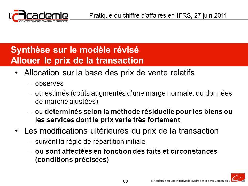 Synthèse sur le modèle révisé Allouer le prix de la transaction