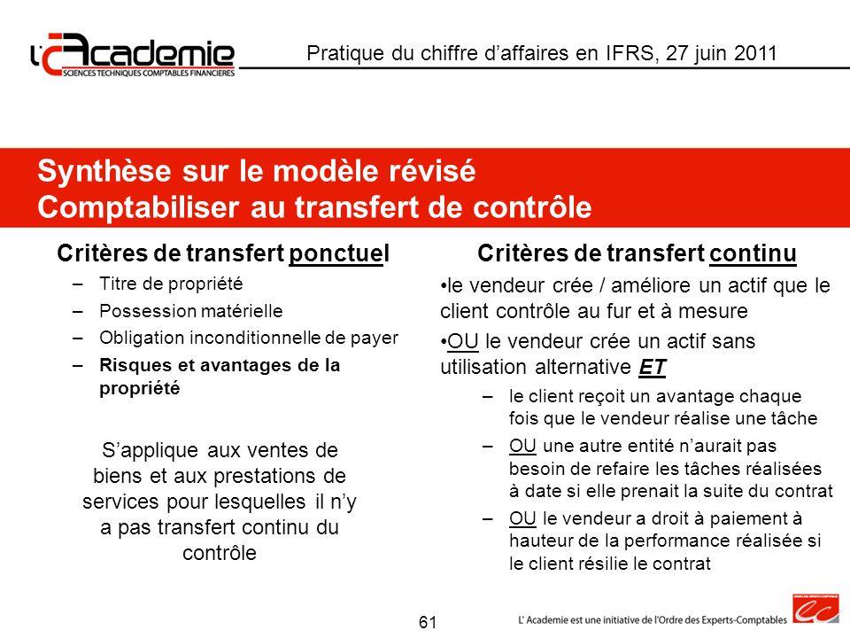 Synthèse sur le modèle révisé Comptabiliser au transfert de contrôle