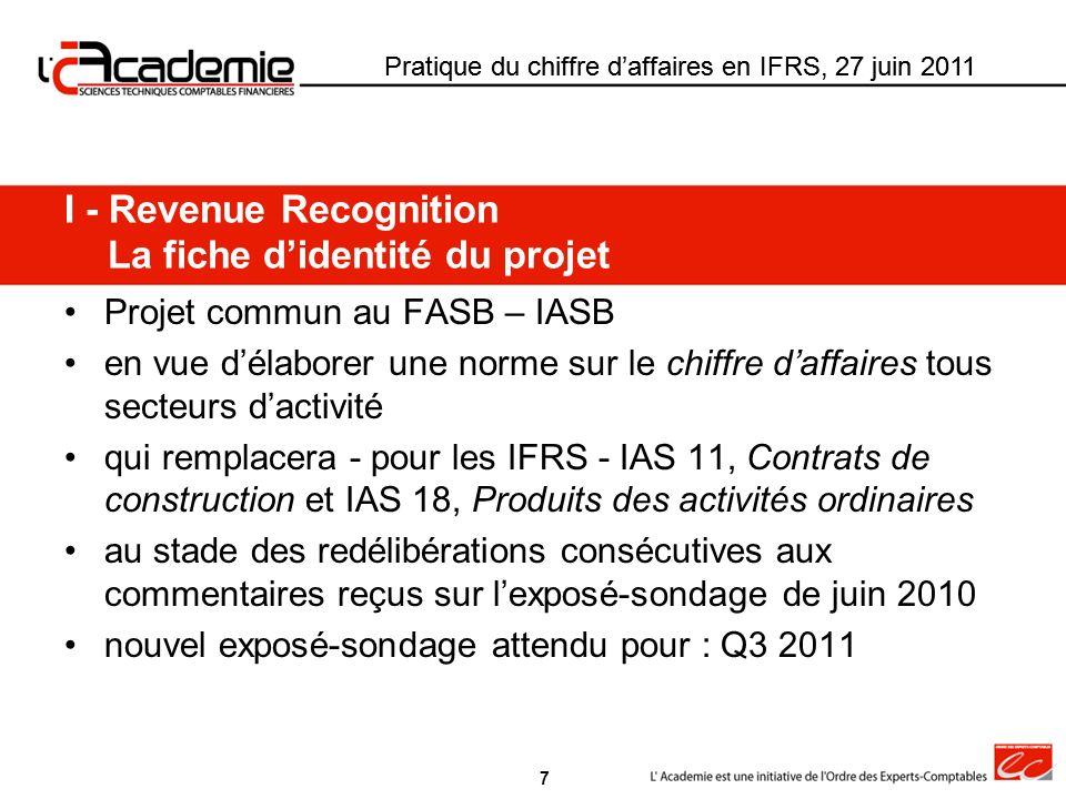I - Revenue Recognition La fiche d'identité du projet