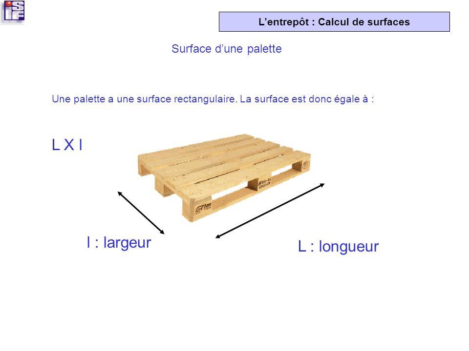 L X l l : largeur L : longueur Surface d'une palette