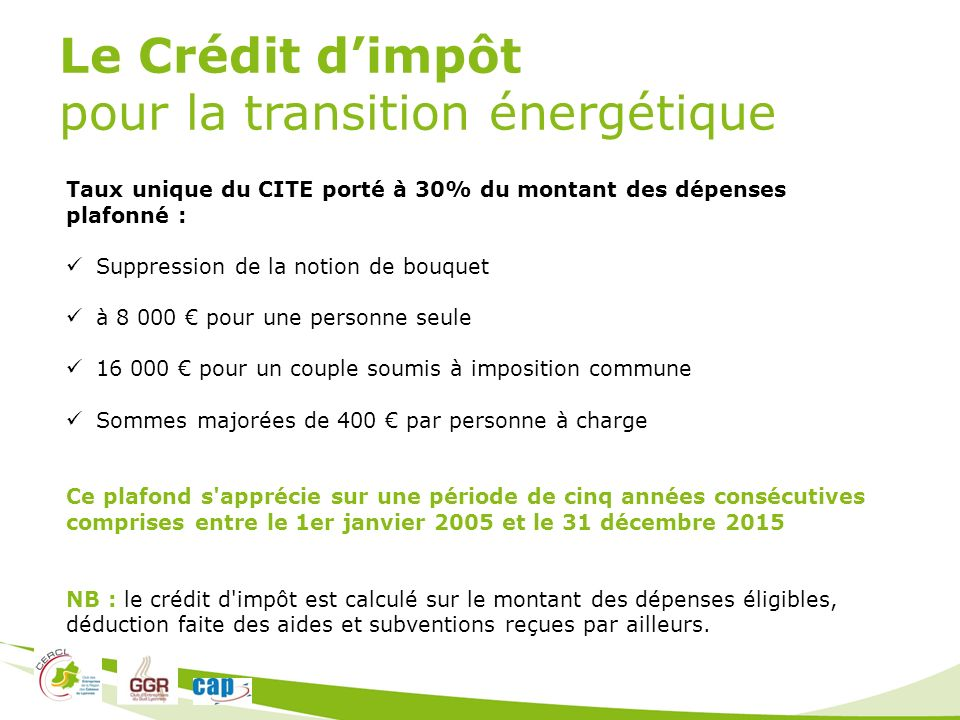 Intervenants bernard chipier chipier irrigation ppt - Credit d impot pour la transition energetique ...