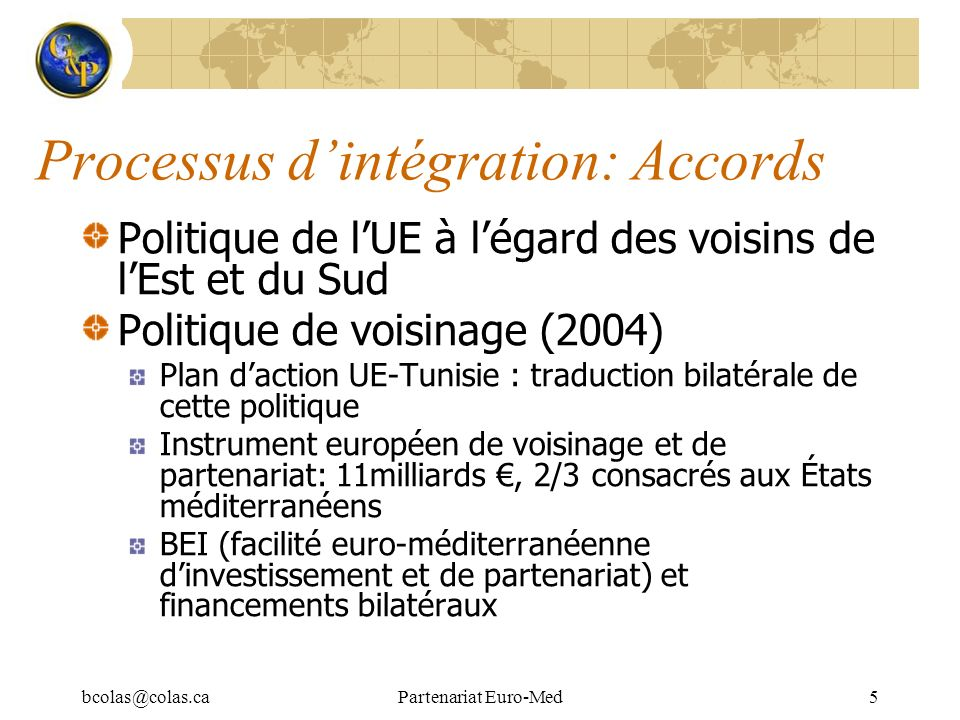 Processus d'intégration: Accords