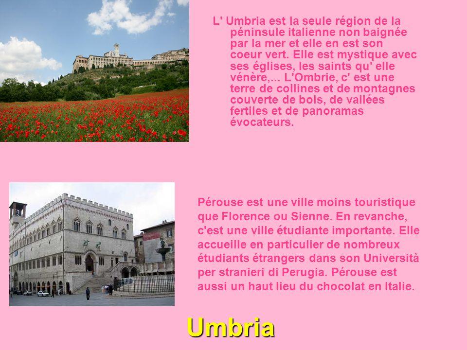 L Umbria est la seule région de la péninsule italienne non baignée par la mer et elle en est son coeur vert. Elle est mystique avec ses églises, les saints qu elle vénère,... L Ombrie, c est une terre de collines et de montagnes couverte de bois, de vallées fertiles et de panoramas évocateurs.