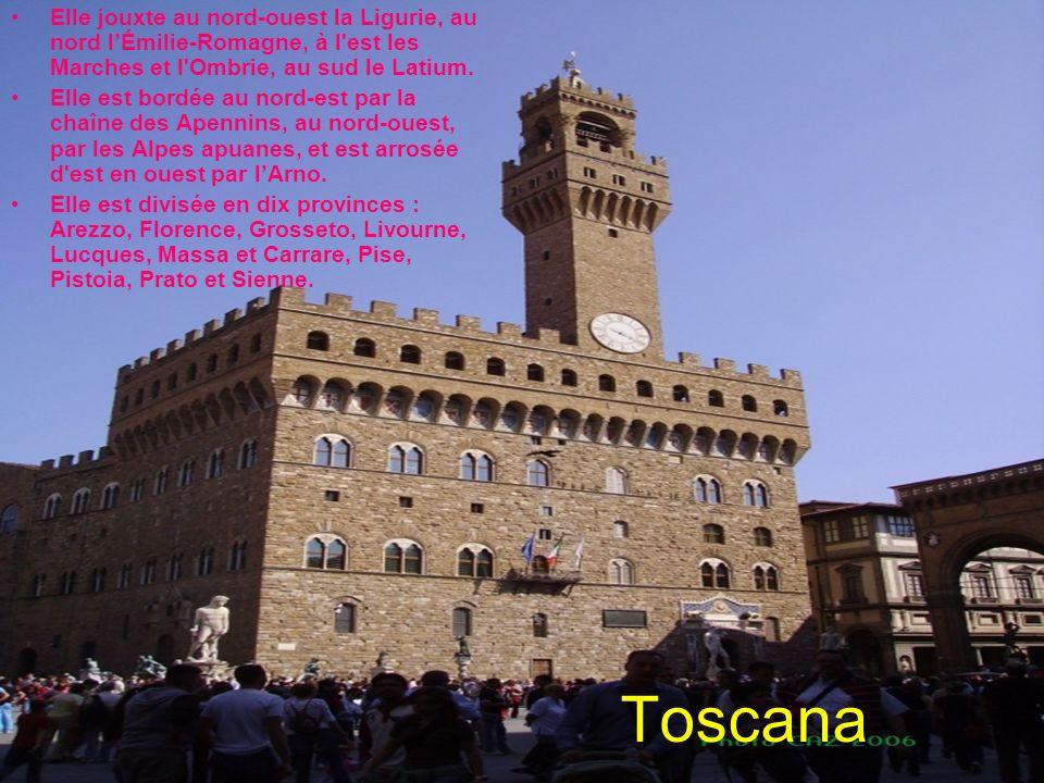 Elle jouxte au nord-ouest la Ligurie, au nord l'Émilie-Romagne, à l est les Marches et l Ombrie, au sud le Latium.