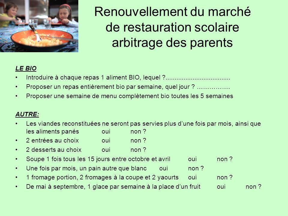 Renouvellement du marché de restauration scolaire arbitrage des parents