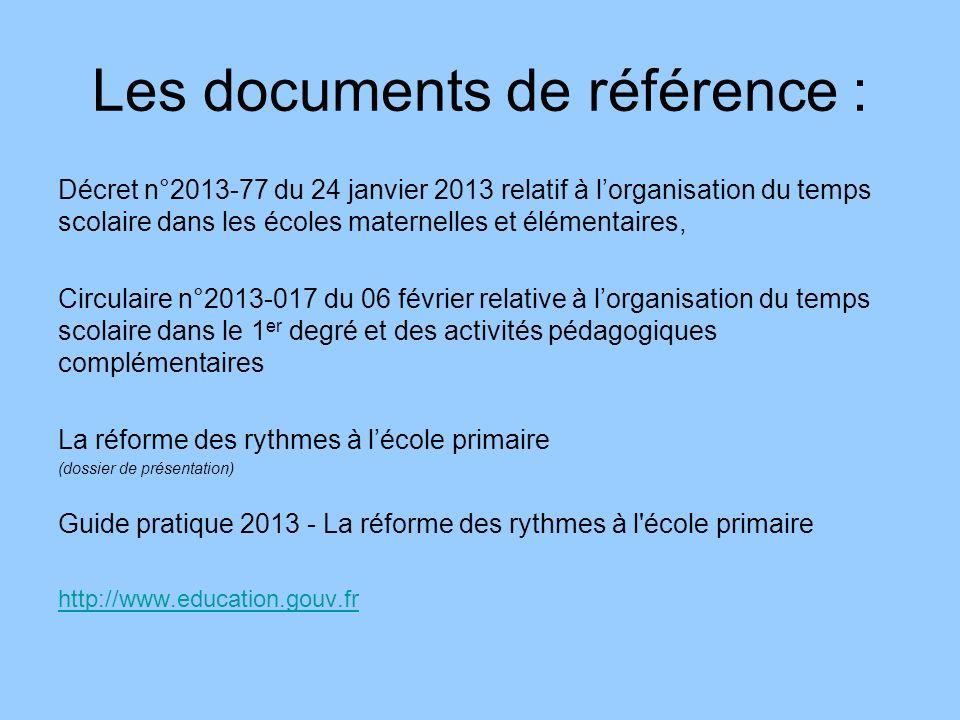 Les documents de référence :