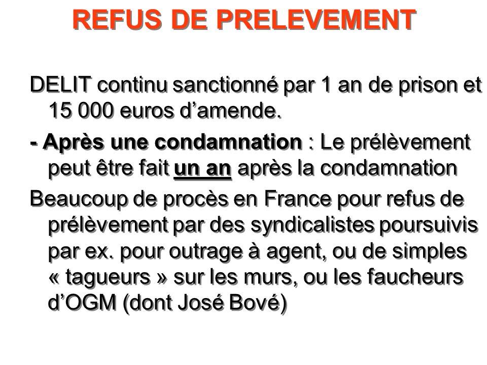 REFUS DE PRELEVEMENTDELIT continu sanctionné par 1 an de prison et 15 000 euros d'amende.
