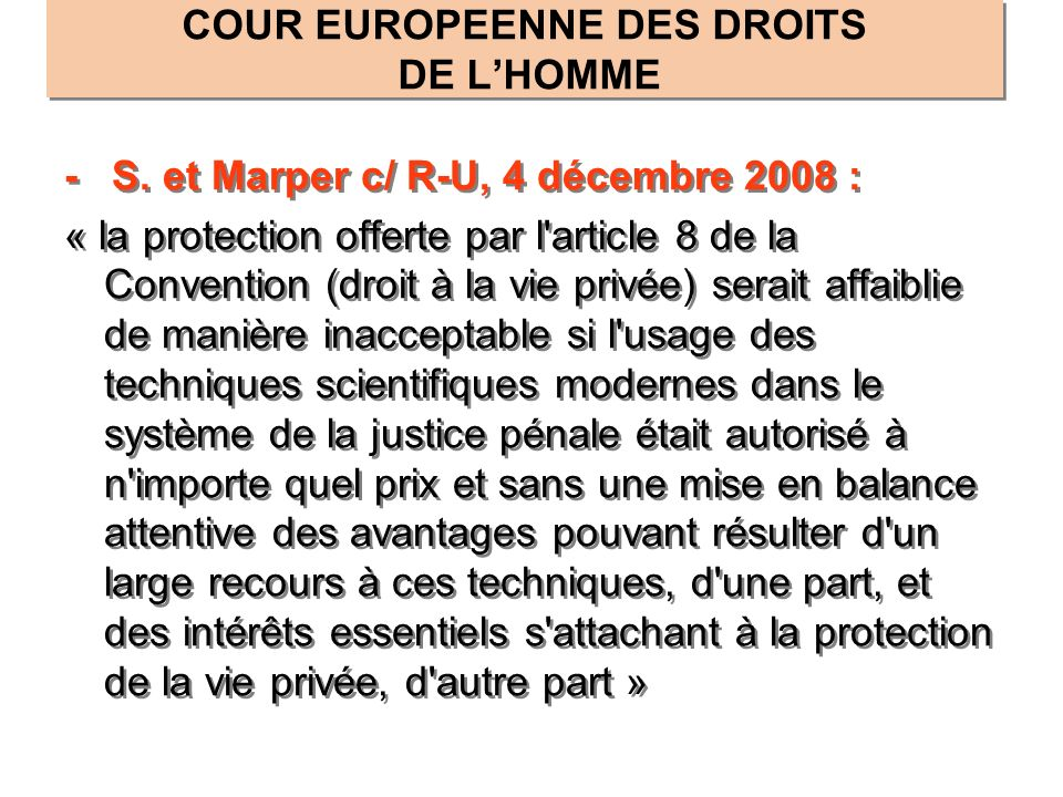 COUR EUROPEENNE DES DROITS DE L'HOMME
