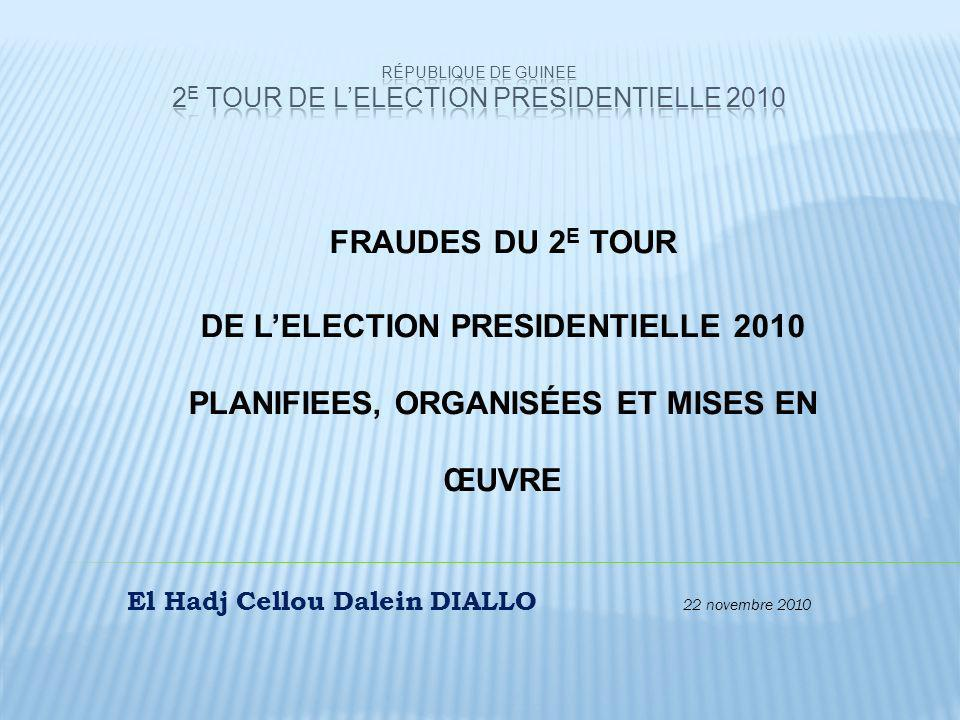 République de GUINEE 2E TOUR DE L'ELECTION PRESIDENTIELLE 2010