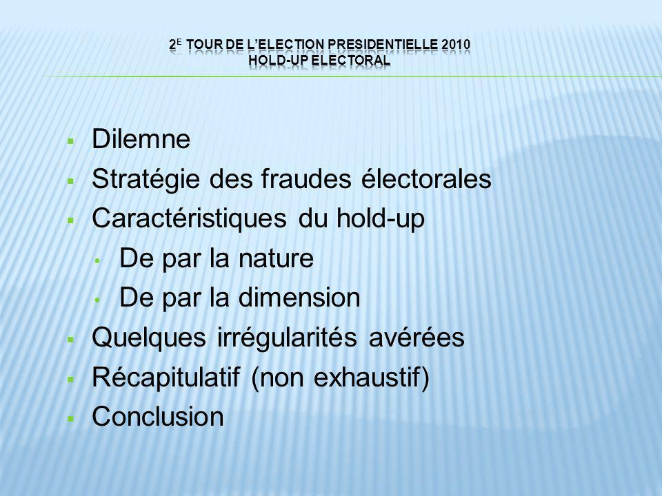 2E TOUR DE L'ELECTION PRESIDENTIELLE 2010 HOLD-UP electoral