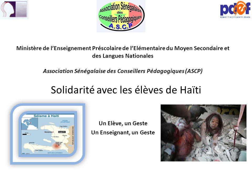 Solidarité avec les élèves de Haïti