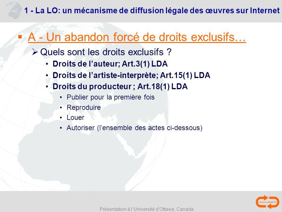 1 - La LO: un mécanisme de diffusion légale des œuvres sur Internet