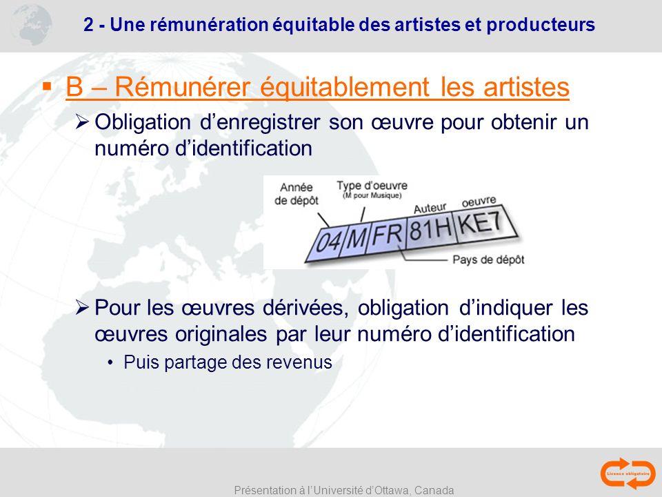2 - Une rémunération équitable des artistes et producteurs
