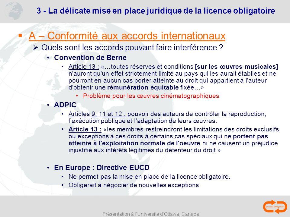 3 - La délicate mise en place juridique de la licence obligatoire