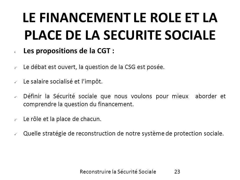 LE FINANCEMENT LE ROLE ET LA PLACE DE LA SECURITE SOCIALE
