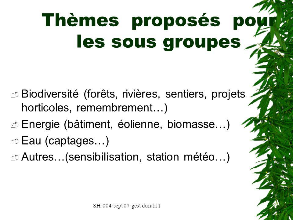 Thèmes proposés pour les sous groupes