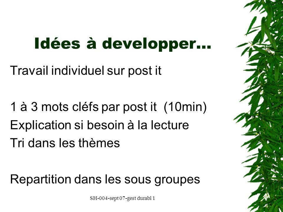 Idées à developper… Travail individuel sur post it