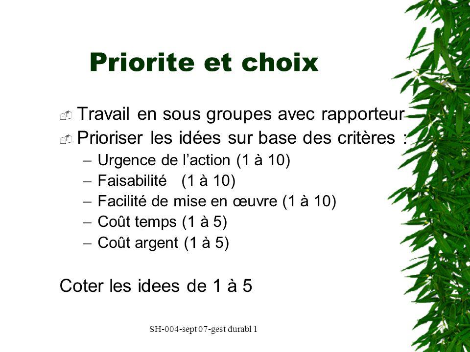Priorite et choix Travail en sous groupes avec rapporteur