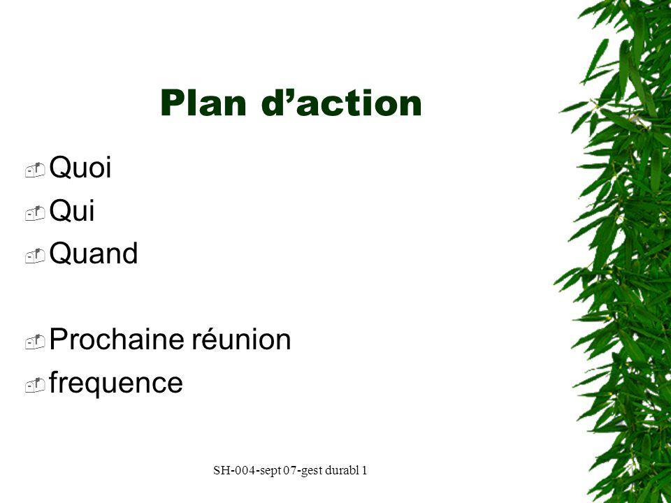 Plan d'action Quoi Qui Quand Prochaine réunion frequence