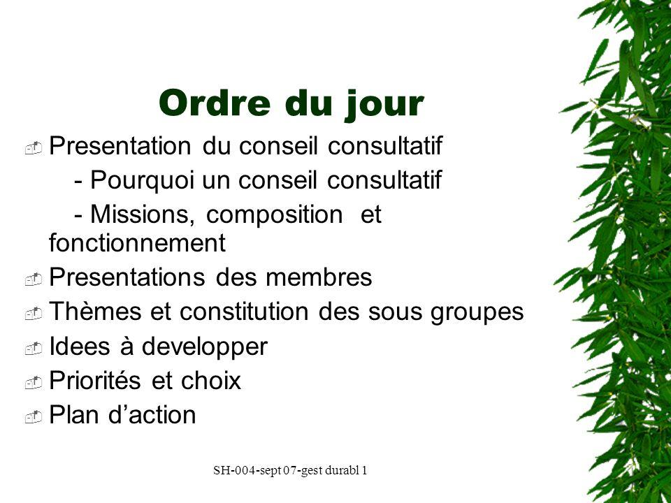 Ordre du jour Presentation du conseil consultatif