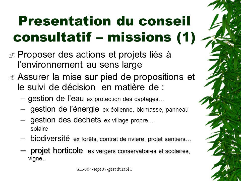Presentation du conseil consultatif – missions (1)
