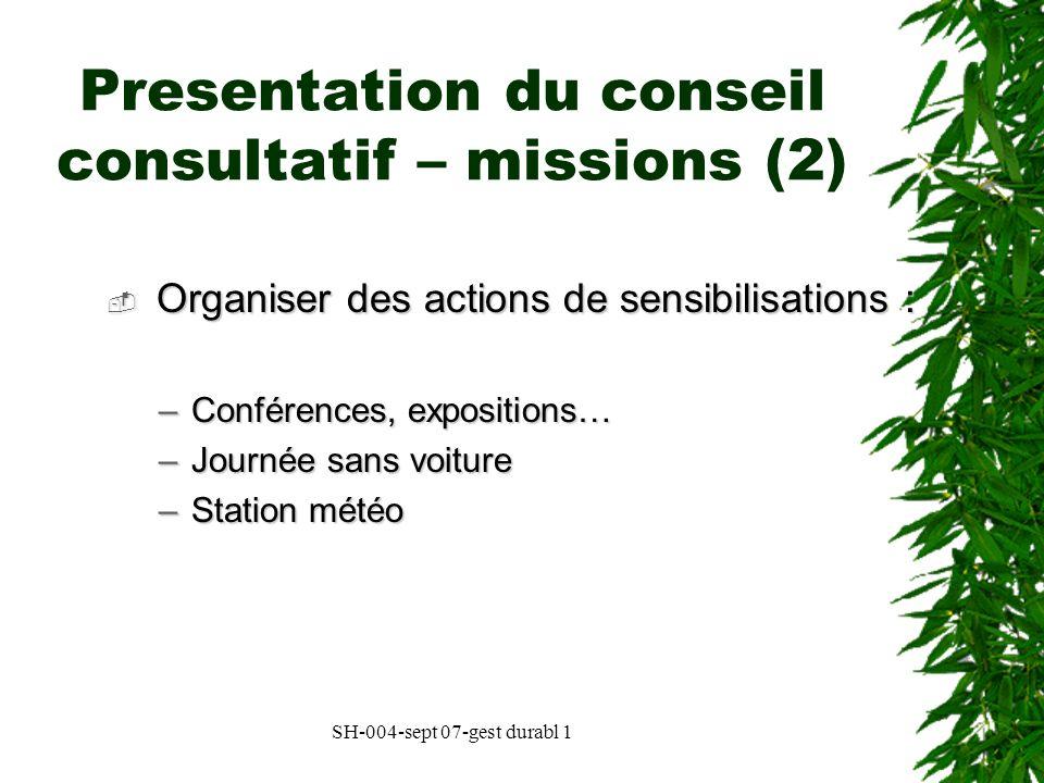 Presentation du conseil consultatif – missions (2)