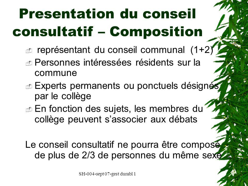 Presentation du conseil consultatif – Composition