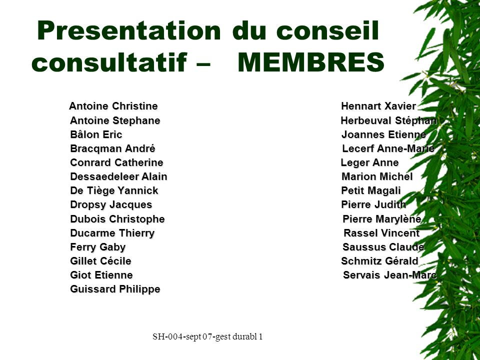 Presentation du conseil consultatif – MEMBRES