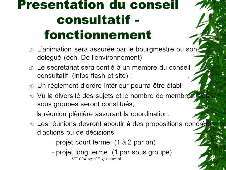 Presentation du conseil consultatif - fonctionnement
