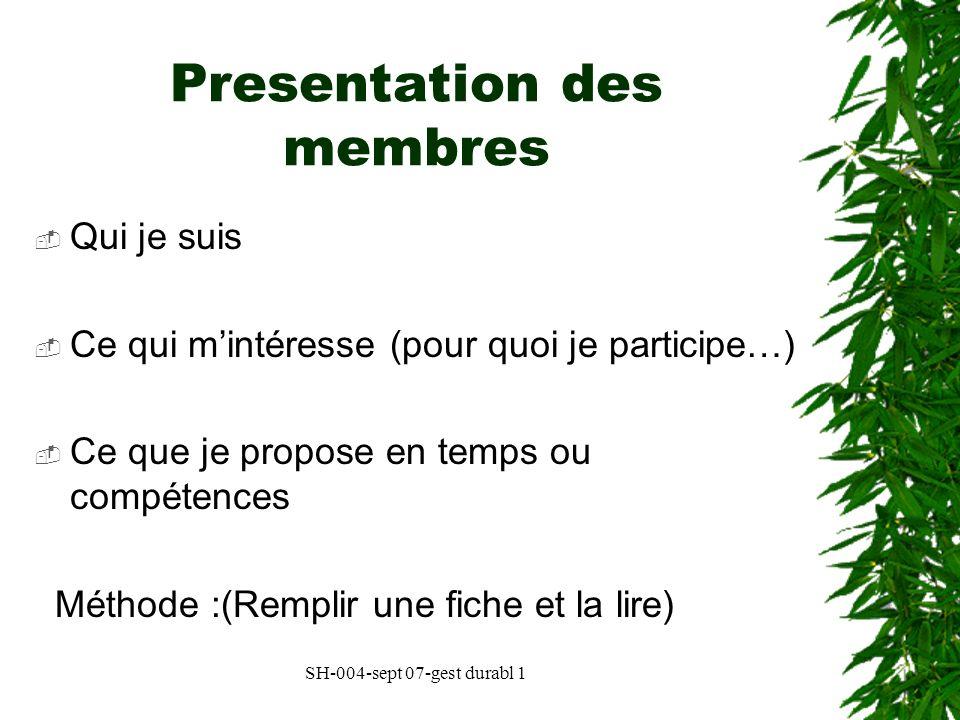 Presentation des membres