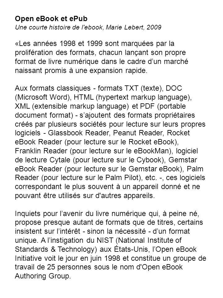 Open eBook et ePub Une courte histoire de l ebook, Marie Lebert, 2009.