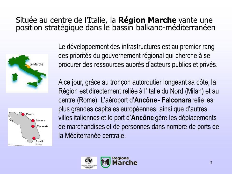 Située au centre de l'Italie, la Région Marche vante une position stratégique dans le bassin balkano-méditerranéen